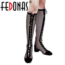 FEDONAS Mode Sexy Sommer Cut-outs Kniehohe Stiefel High Heels Frühling Sommer Party Club Schuhe Frau Damen Lange sommer Stiefel(China)