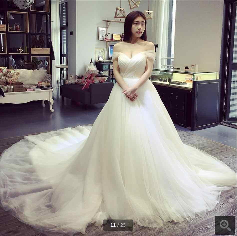 2016 עיצוב חדש כדור שמלת קפלים כבוי כתף שמלת חתונת קפלת רכבת מתוקה צוואר שמלות כלה חמה למכירה