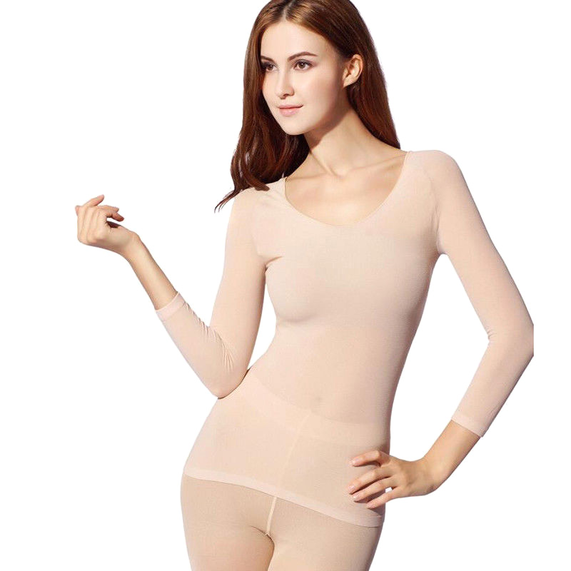 Winter 37 Degree Constant Temperature Thermal Underwear For Women Ultrathin Elastic Thermo Underwear Seamless Long 2Pcs Suit