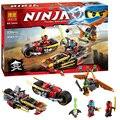 BELA 10444 Moto Ninja persecución Compatible Con Legoe 70600 Ninjagoed Modelo Bloques de construcción de Juego 3 En 1 Hoja de Kai Ladrillos establece Juguetes