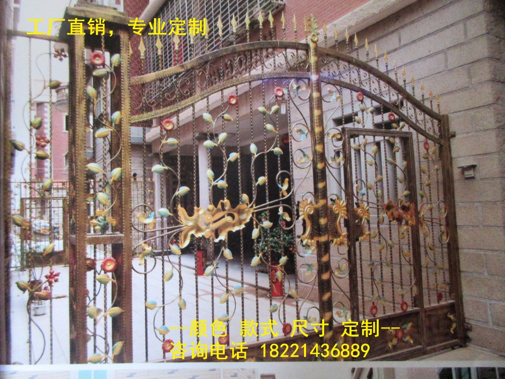 Custom Made Wrought Iron Gates Designs Whole Sale Wrought Iron Gates Metal Gates Steel Gates Hc-g39
