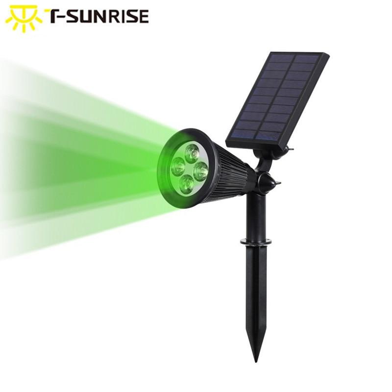 все цены на T-SUNRISE Outdoor Solar Light Angle Adjustable 4 LED Lighting Waterproof Garden Light for Yard Path Green Color онлайн