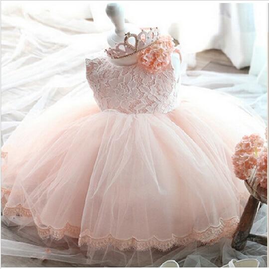 Elegant Girl Dress Girls 2017 Summer Fashion Pink Lace Big Bow Party Tulle Flower Princess Wedding Dresses Baby Girl dress