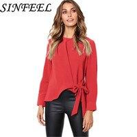 SINFEEL Women Casual Solid Long Sleeve Blouse Shirt Bow Tie Work Office OL Elegant Tops Female Blusas Chemise Femme Plus Size