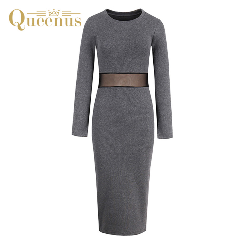Queenus 2017 Autumn Women Sweater Dress Round Neck Mid Calf Long Sleeve Black Grey Burgundy Elegant Bodycon Lady Knit Dresses