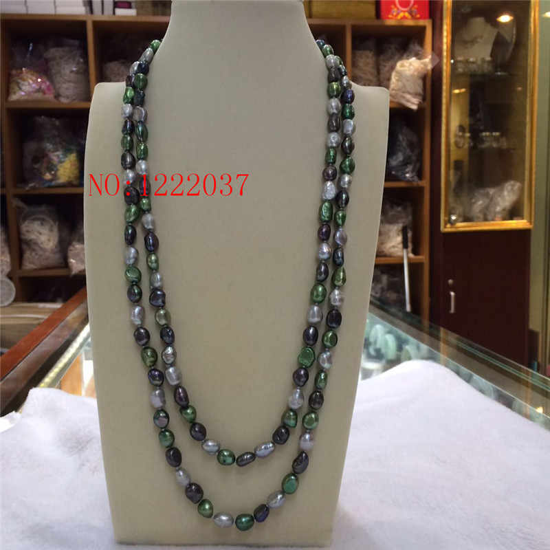 """Natural freshwater  pearls irregular shaped baroque 8-9MM necklaces Green, gray black  multicolor long sweater chain 50 """""""
