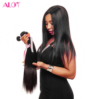 ALot Hair Peruvian Straight Hair Weave Bundles 100 Human Hair Extensions Natural Color Can Be Dyed