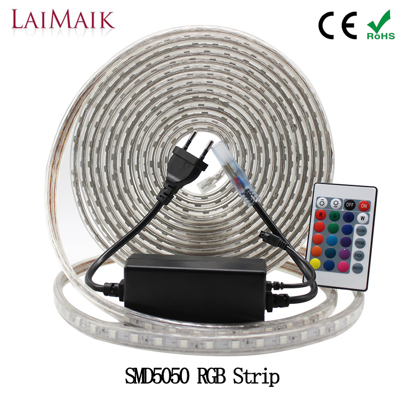 LAIMAIK RGB LED Strip Light Waterproof SMD5050 60 leds / m led rgb strip lights con controlador AC220V led tira 3in1 LED chip IP67