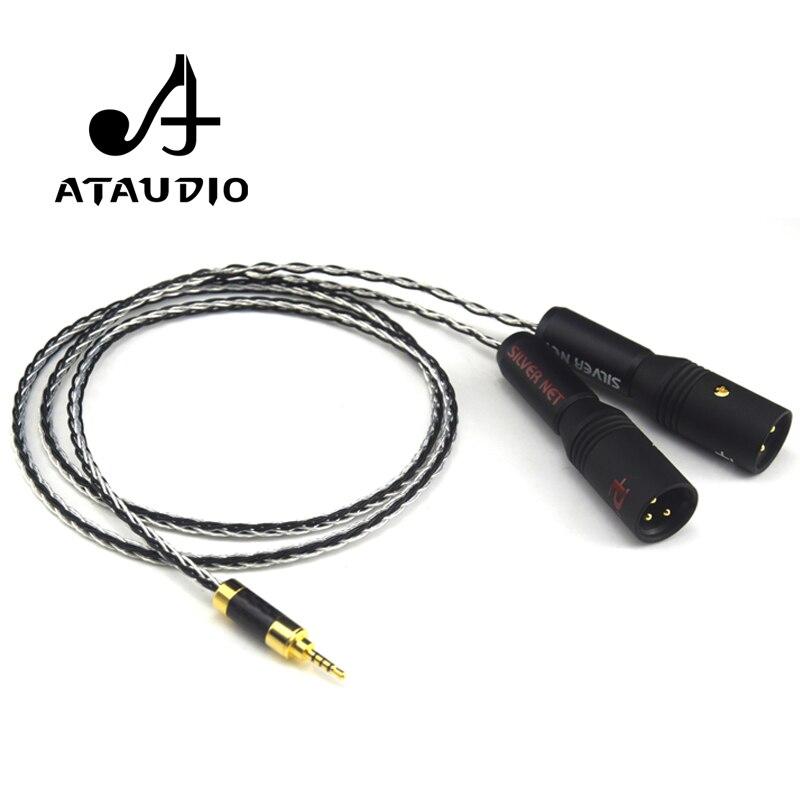 ATAUDIO Argent Plaqué Hifi 2.5mm TRRS Équilibré à 2 Câble Mâle XLR Pour Astell & Kern AK100II, AK120II, AK240, AK380, AK320, DP-X1