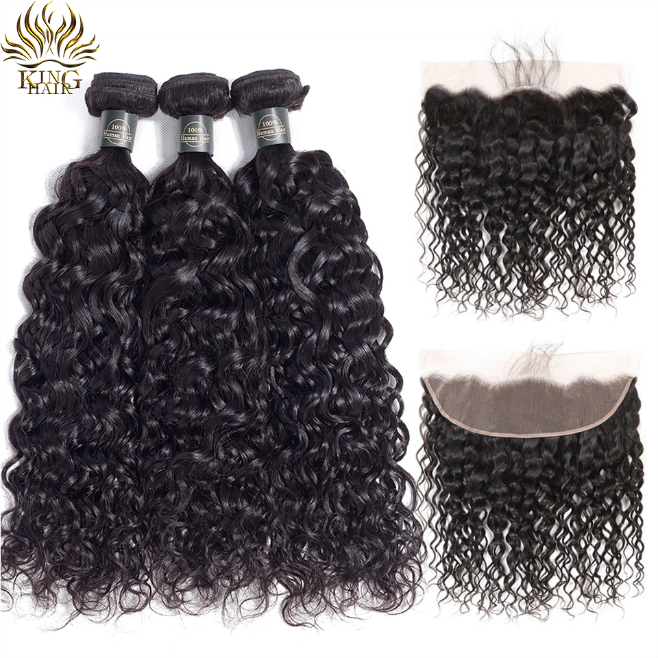 King Hair Brazilian Water Wave Bundles With Closure Remy Hair Lace Frontal With Bundles Deal Human