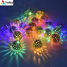 Ornaments Christmas 3M 20Balls Moroccan String Light Battery Operated LED Fairy Christmas Lights New Year Decoration Xmas Noel,L(China)