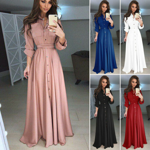 2019 New Arrival Elegant Womens Boho Long Sleeve V-neck High Waist Sundress Maxi Cocktail Party Beach Maxi Long Dress Plus Size