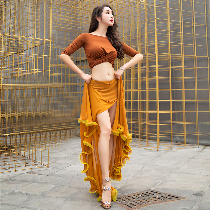 2019 Hot Sale Women Belly Dance Club Stage Costume 2pcs Set Top Skirt Latin Rumba Tango Outfits Training Suit in Belly Dancing from Novelty Special Use