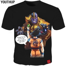 YOUTHUP 2018 Nieuwe Zomer 3D T-shirts Mannen Afdrukken Thanos VS Dragon Ball Goku Tees Tops Mannen T-shirt Cool Grappige Streetwear Plus Size
