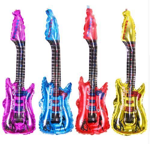 10pcs/lot cartoon guitar balloon inflatable air ballon for birthday music Concert party decoration Musical Instruments balloon