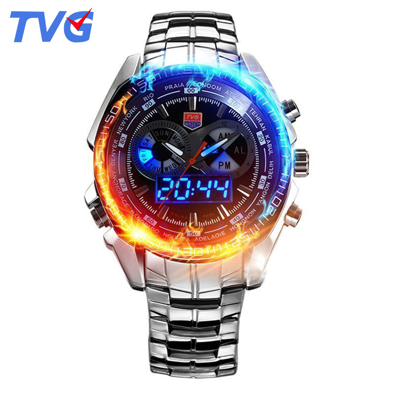 468 Brand TVG Luxury Brand Military Sports Watches Mens Quartz Analog LED watch wrist stainless steel Clock Men Army Wristwatch