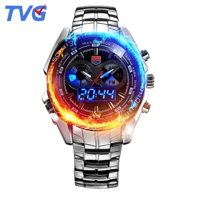 468 Marca TVG Marca de Luxo Militar Relógios Desportivos Mens Quartz Analógico LED watch relógio de pulso de aço inoxidável Relógio de Homens Do Exército relógio de Pulso