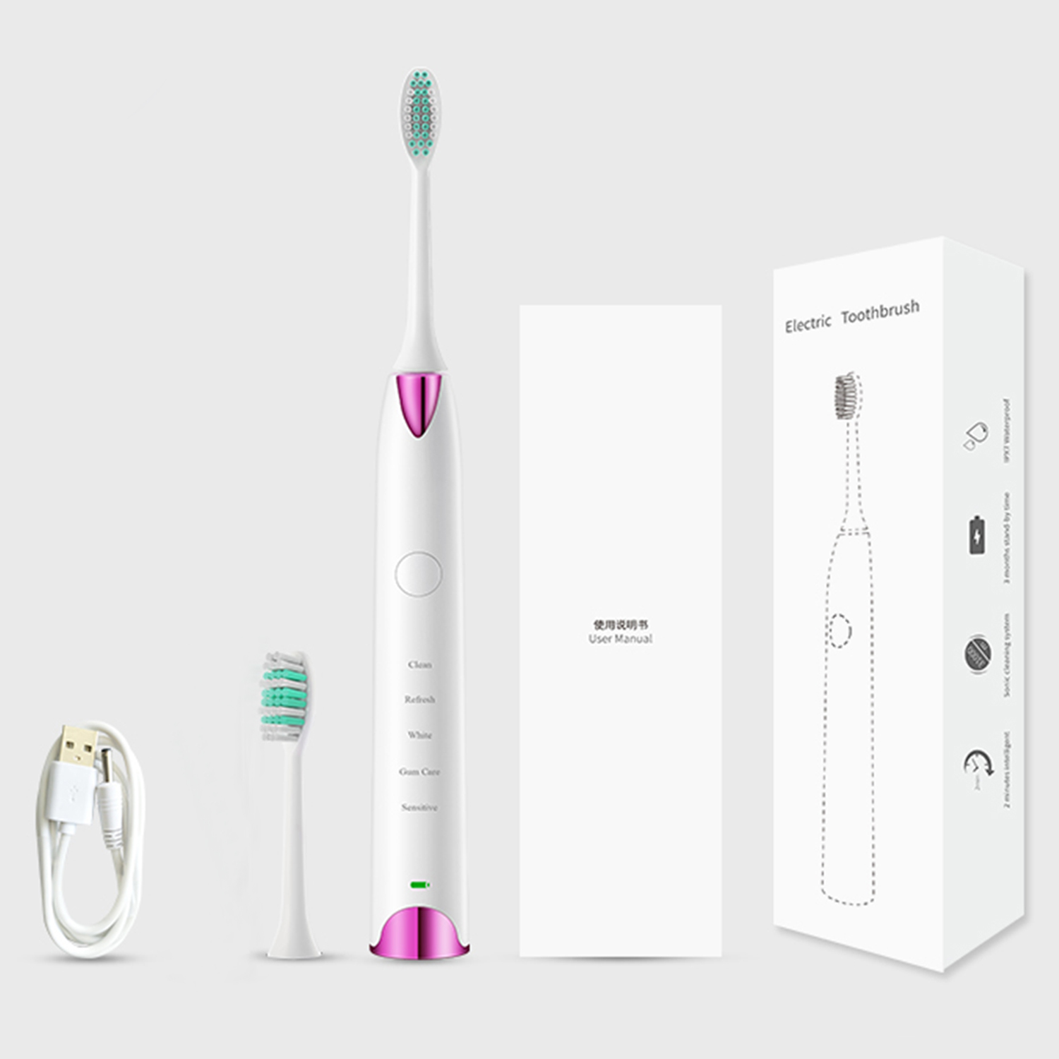 Retemporel Electric Toothbrush Sonic Toothbrush Rechargeable Power Toothbrush with 5 Optional Modes Waterproof White & Gold soocas x3 sonic electric toothbrush