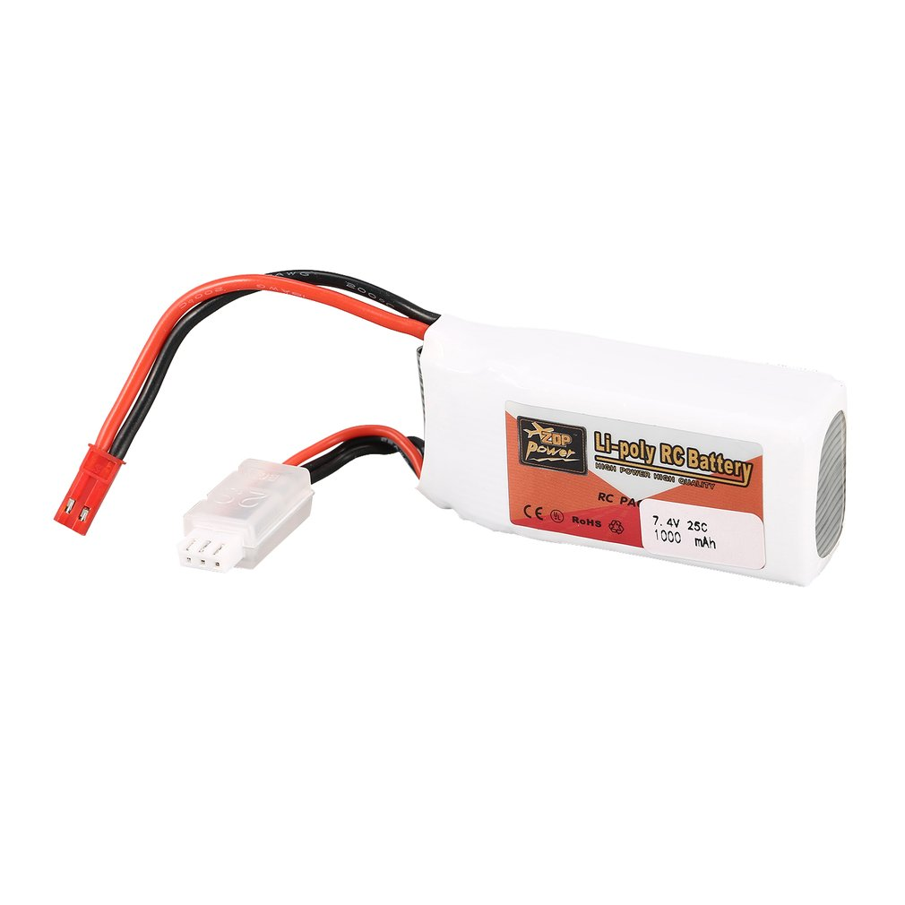 ZOP Power 7.4V <font><b>1000mAh</b></font> 25C <font><b>2S</b></font> 2S1P <font><b>Lipo</b></font> Battery JST Plug Rechargeable For RC Racing Drone Helicopter Multicopter Car Model Parts image
