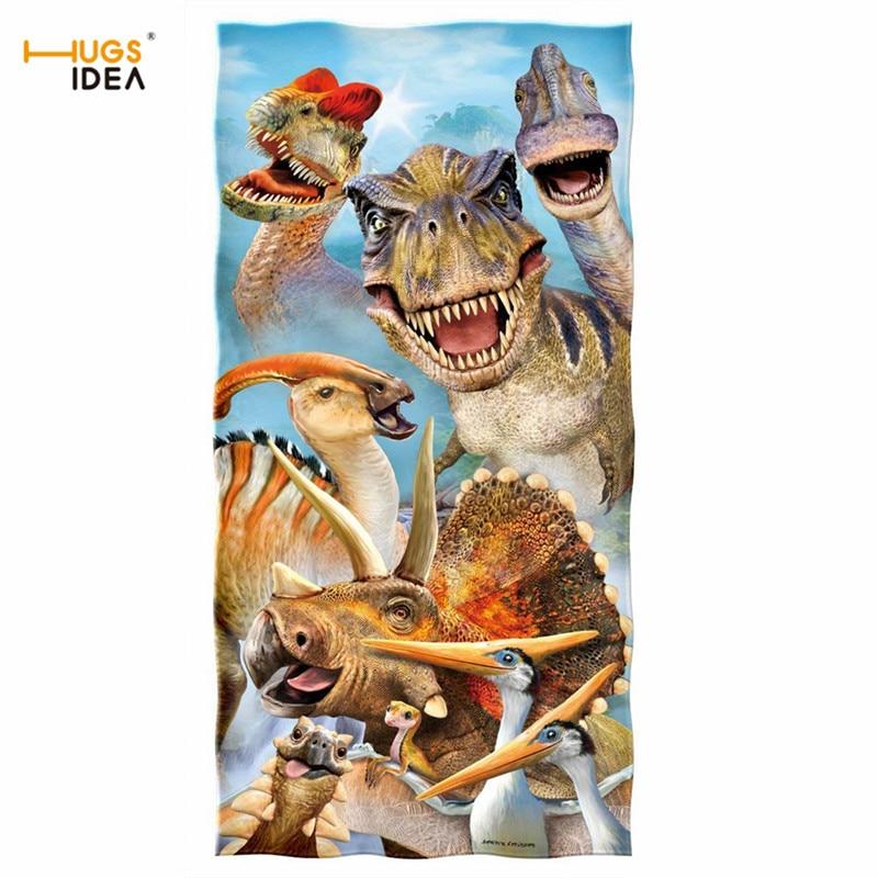 HUGSIDEA serviettes de bain mode femmes 3D Animal dinosaure impression serviette de plage hommes Sport natation Yoga couverture maison Textile petite serviette