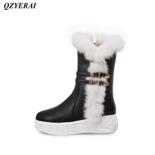 QZYERAI New winter warm rabbit hair snow boots womens boots fashionable womens shoes leisure