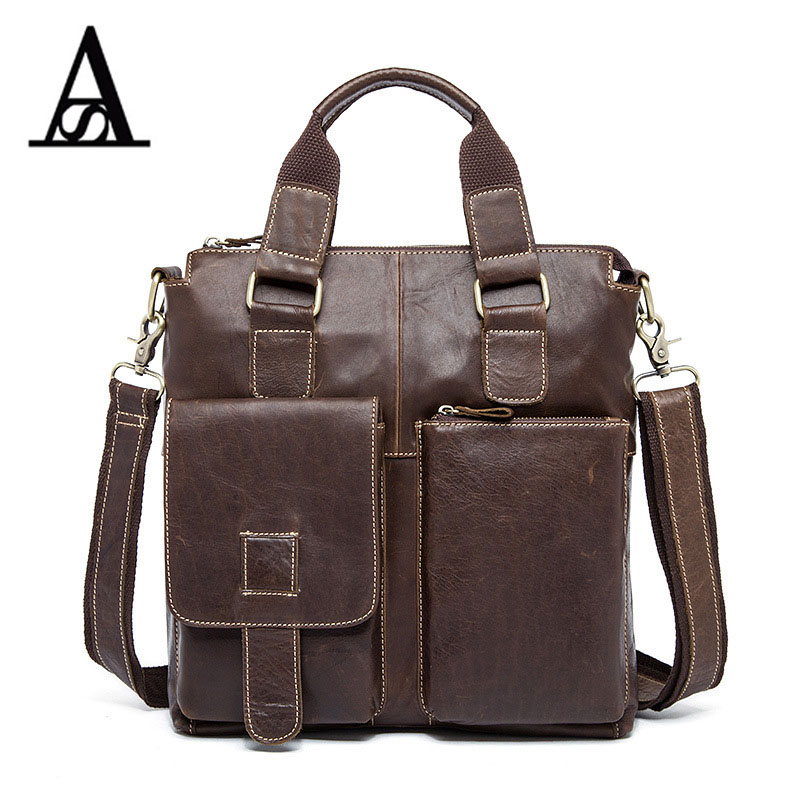 ФОТО AITESEN Genuine Leather Shoulder Bag Men's Leather Bag Briefcase Crossbody Bags for Husband Handbag Portfolio Laptop Business