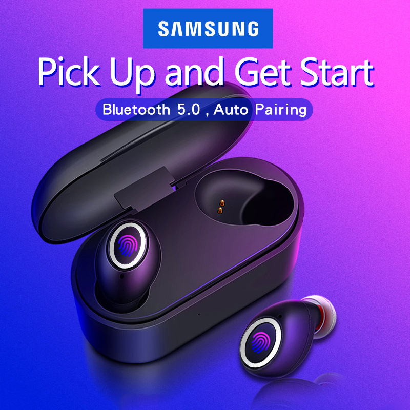 Fingerprint Touch Bluetooth Earphones 5.0 TWS for  Samsung Galaxy S9 S10 S8 S7 S6 Edge Plus S10E Note Wireless Earbuds dual Mic|Phone Earphones & Headphones|Consumer Electronics - title=