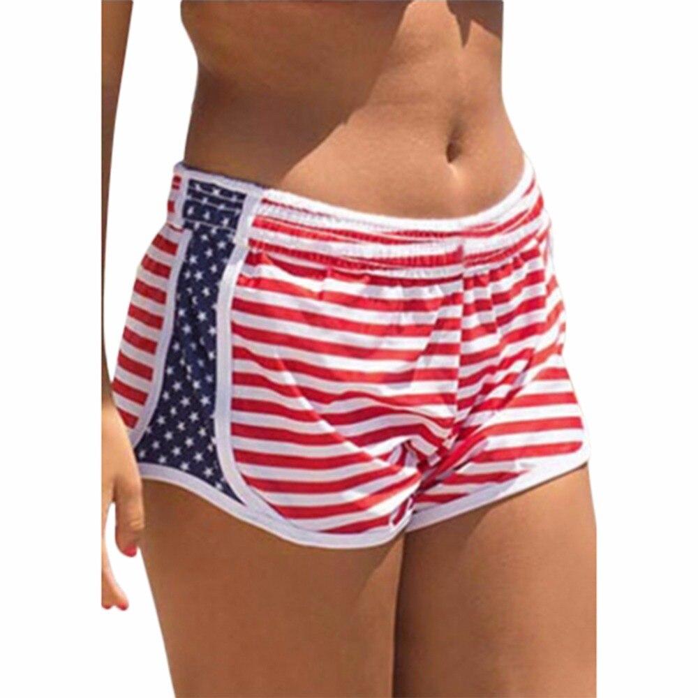 Lady Women   Short   Elastic Waist Print Stripe Beach Plus Size Red Beach   Board     Shorts   Surf Women Bikini Bottoms Quick Dry Swimwear
