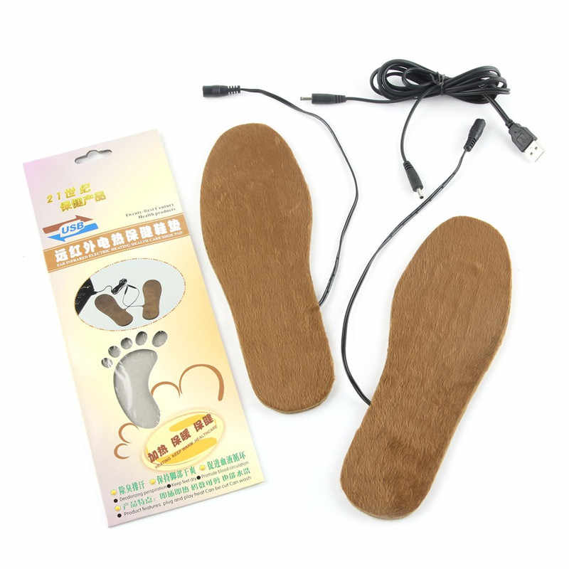 2018 New Sale 1 Pair heater USB Electric Powered Heated Insoles For Shoes Boots Keep Feet Warm Solid Women Men dropshipping
