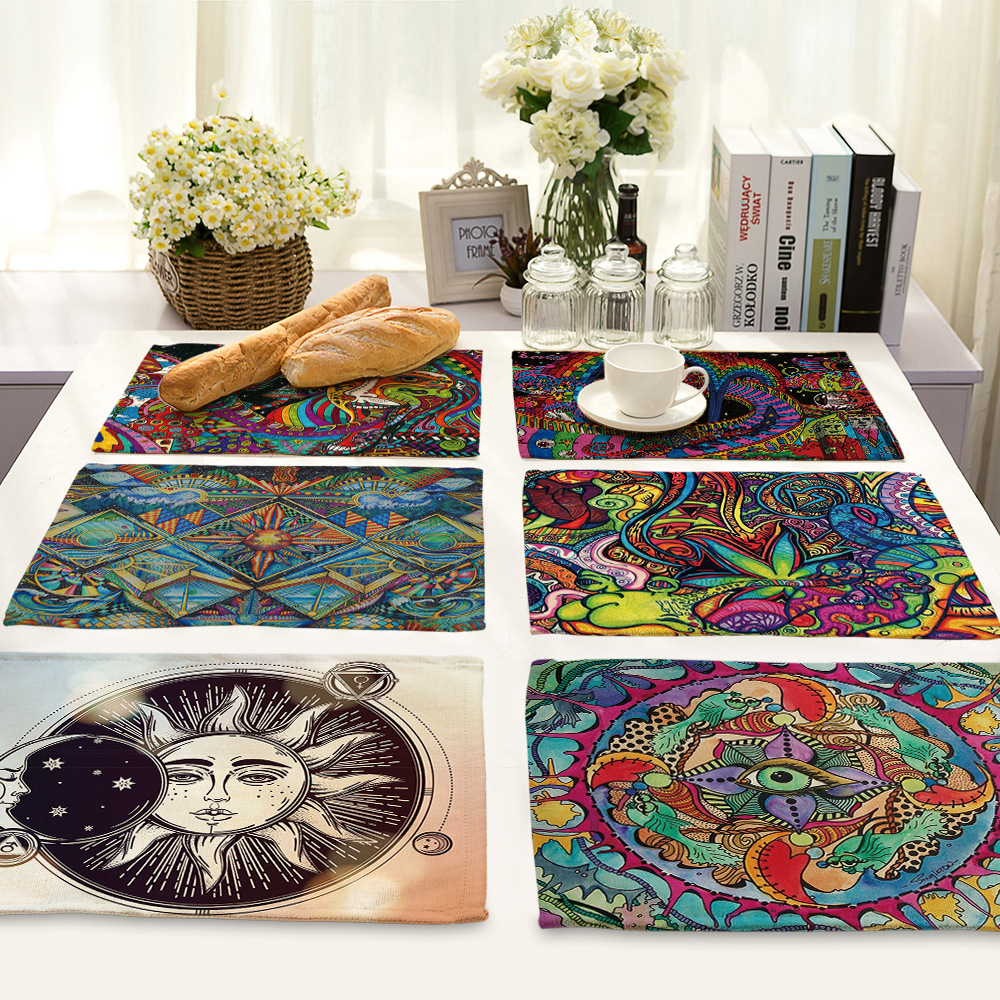 CAMMITEVER Sun Apolo Cotton Linen Bowls Coasters Kitchen Accessories Western Pad Placemat Insulation Dining Table Mat