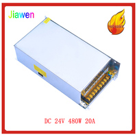 JIAWEN 480W AC 110V / 220V to DC 24V 20A Lighting Transformer Switching Power Supply Silver