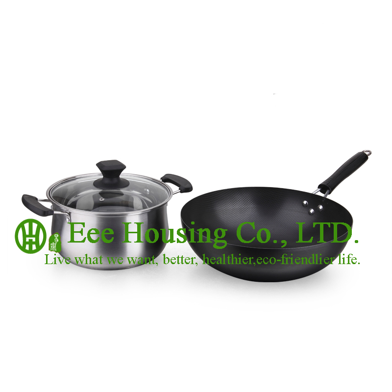 Refined Iron Cooking Cookware Kitchenware Set,free Shipping Factory Price Wok Fry Pan,Stainless Steel Soup Pot Kitchen