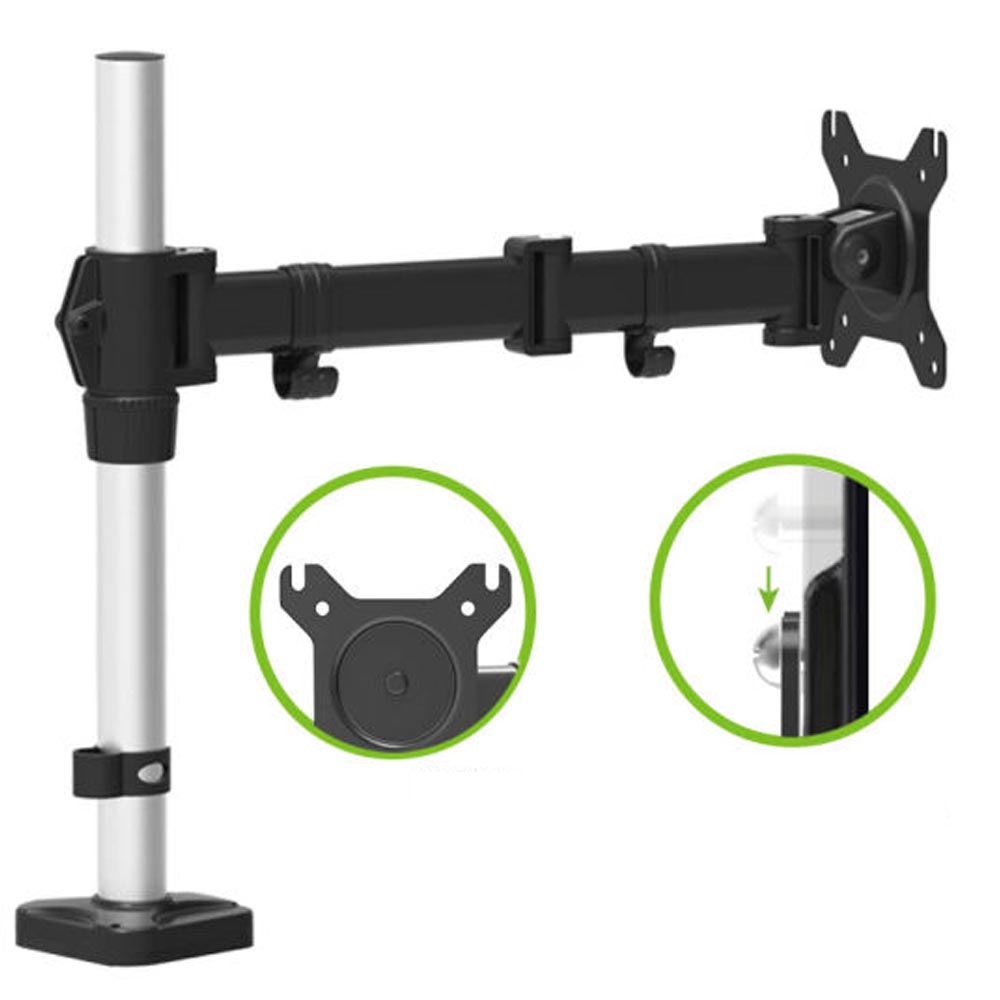 HONGHUA 13-27 Full Motion Computer Desktop Grommet Monitor Holder Arm Free Lifting Rotary Display Stand Rack Loading 8kgs buy monitor for desktop
