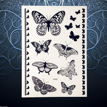 3D Vivid Flying Butterfly Waterproof Black Henna Tattoo Stickers Women Makeup Tatoo Paste PBY035 Removable Tattoo Stickers Party