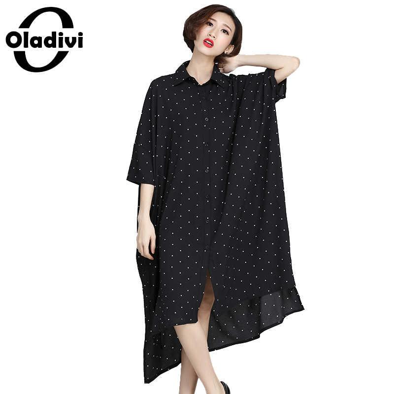 Oladivi/платье-рубашка больших размеров 2018, повседневные свободные платья с коротким рукавом, женская одежда больших размеров, модная блуза для мальчиков, топ, туника, Blusa