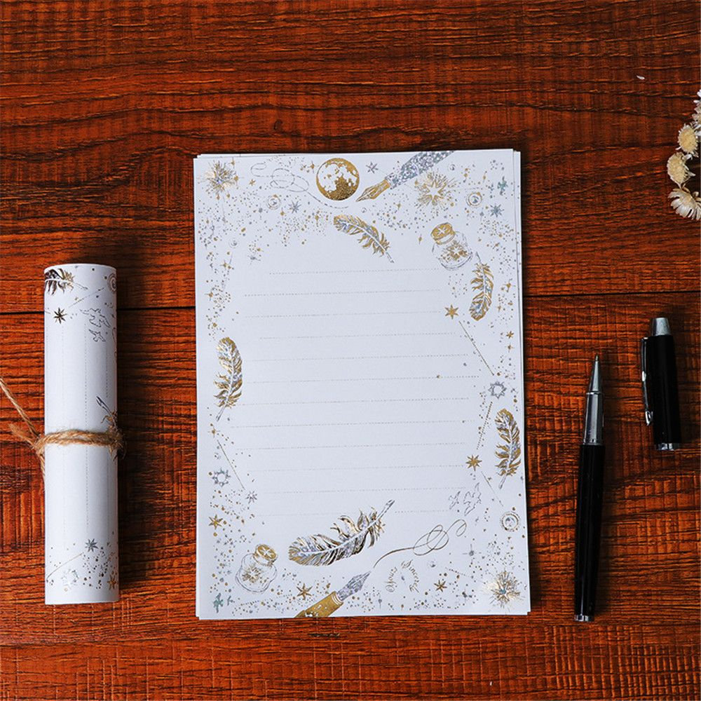 Details About 8pcs Gilding Letter Papers Wedding Invitation Card Writing Pad Writing Paper New