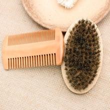 2pcs Soft Board Bristle Wood Beard Brush Hairdresser Shaving Tool Men Mustache Comb Kit Beard Comb Set