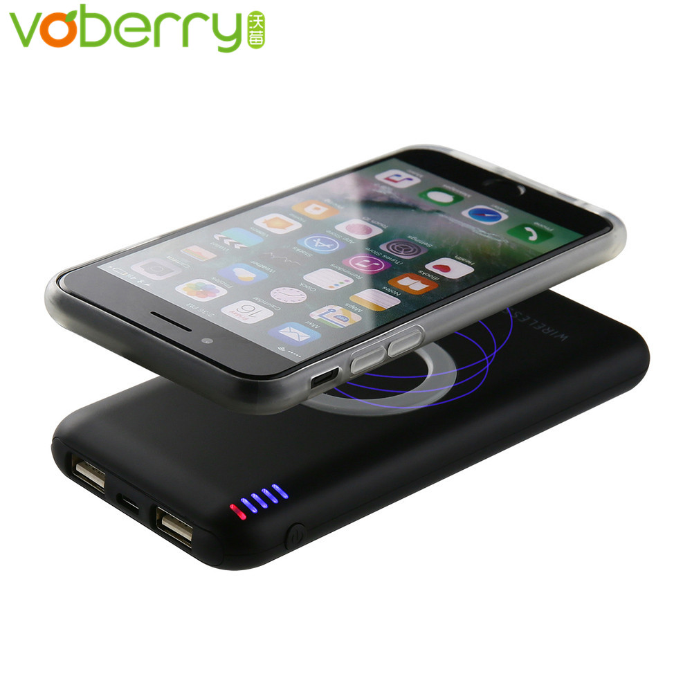 wireless charger for iphone voberry 6000mah external battery pack portable qi wireless 2075