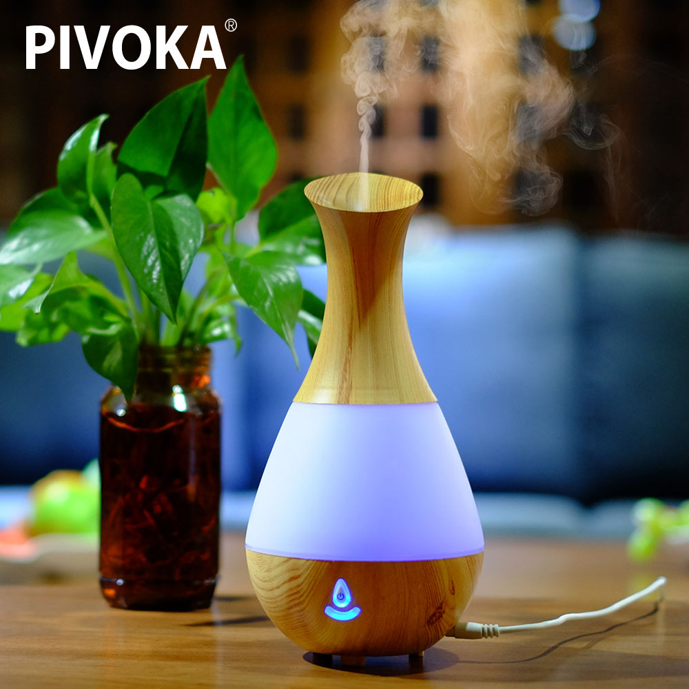 Bluetooth Aroma Essential Oil Diffuser Ultrasonic Air Humidifier with Wood Grain 7 Color Changing LED Lights for Office Home 219