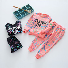 Bobozone splash-ink sets kids clothing winter add wool hoodies+pants tops