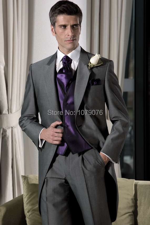 Popular Gray Tuxedo and Purple Vest-Buy Cheap Gray Tuxedo and ...
