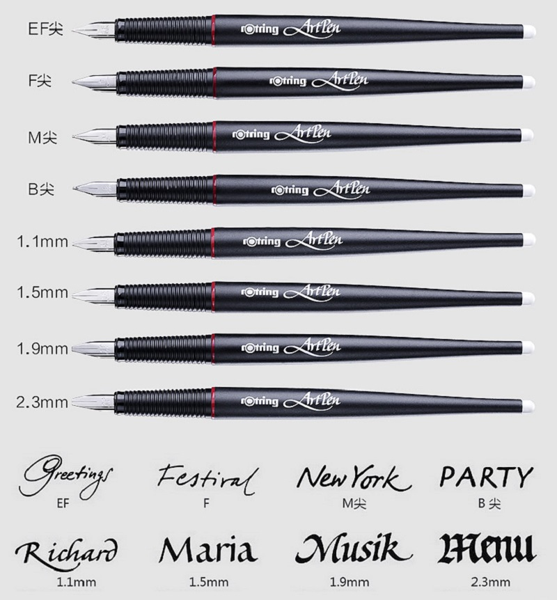 Germany Original Rotring Artpen Parallel Art Pen Sketch Drawing Calligraphy 8 Writing Type For Choice In Multi Function From Office School