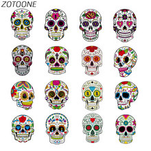 ZOTOONE Patches for Clothing Sugar Skull Heat Transfer Iron on Applique Clothes T-Shirt 3D DIY Accessory Decoratione E