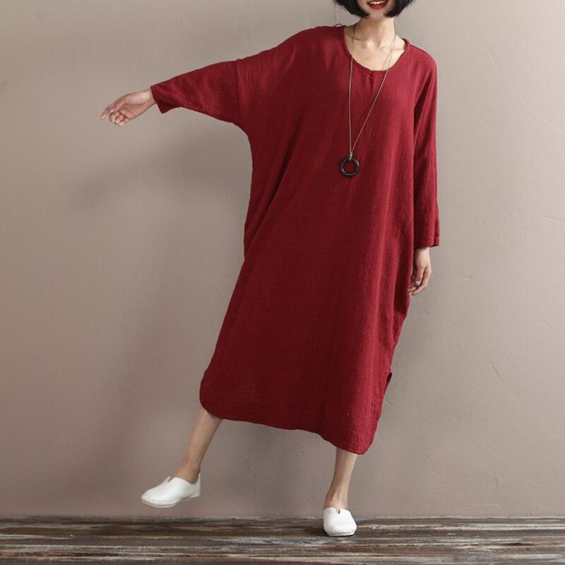 Johnature 2017 новый женщины хлопок лен платье весна свободно форме крыла летучей мыши рукав плюс размер нерегулярные дизайн твердые платье повседневная винтаж