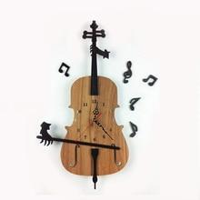 Antique Style Quartz New Arrival Hot Sale Reloj Large Decorative Wall Clocks Violin Shaped Wood Clock Geometric Needle
