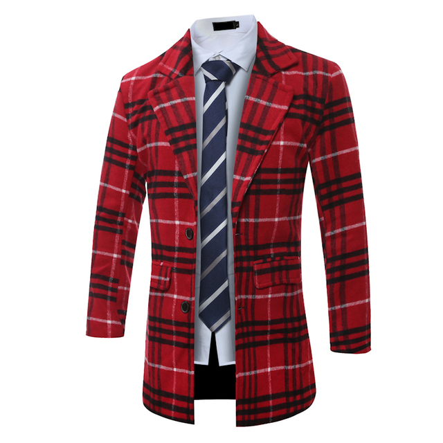 5ce301da89b 2016 Fashion Men Long Coats V Neck English Plaid Woolen Jackets Winter Warm  Mens Gothic Clothing Plus Size Full Sleeve Topcoats-in Wool & Blends from  ...