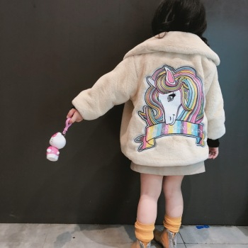 Unicorn Coat Girl Winter Warm Clothes Girls Faux Fur Coat Children Kids Thick Outerwear Bobo Choses Girl Girls Outerwear Coat girl