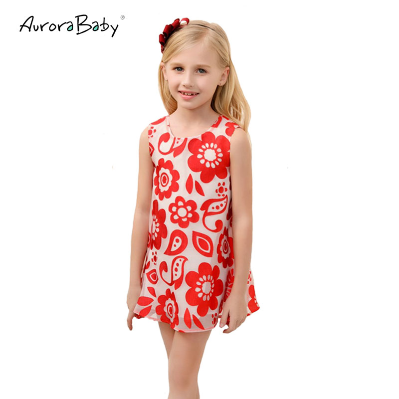 2018 Summer Floral Girls Dress Baby Lace Dresses Vest Cotton Mesh Costume for Children Party Princess Clothing 3Y-10y floral lace mesh night dress