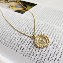 925 Sterling Silver Jewelry Gold Color Rose Flower Coin Pendant Necklace Women Chic Layered Chain Necklaces Drop Shipping