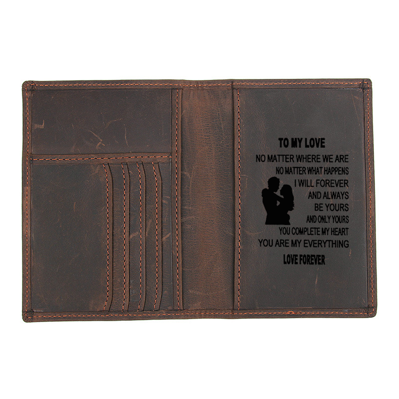 Gift to Son or to love Genuine Leather Travel Cover Passport Wallet functional RFID Card ID